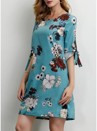 Impresión/Floral Mangas 1/2 Tendencia Sobre la Rodilla Casual/Elegante/Vacaciones Vestidos