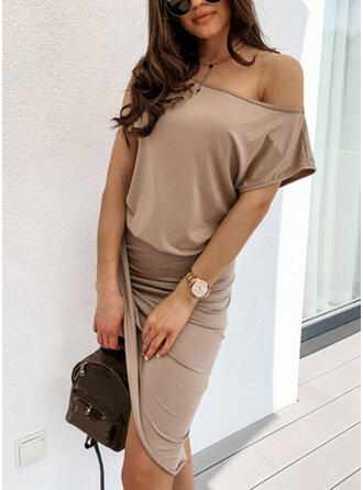 Solid Short Sleeves Sheath Asymmetrical Casual Dresses