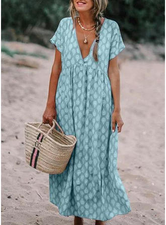 Print Short Sleeves Shift Maxi Casual/Vacation Dresses