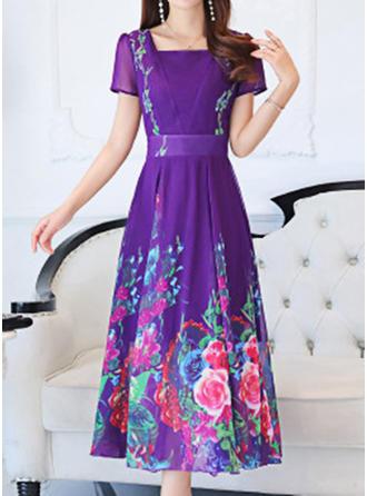 Print/Floral Short Sleeves A-line Maxi Casual/Boho Dresses