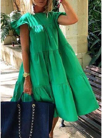 Solid Short Sleeves Shift Little Black/Casual/Elegant Midi Dresses