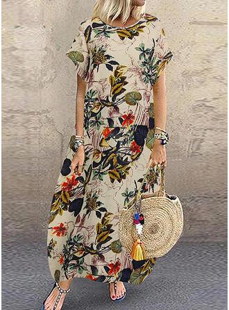 Print/Floral Short Sleeves Shift Casual Maxi Dresses