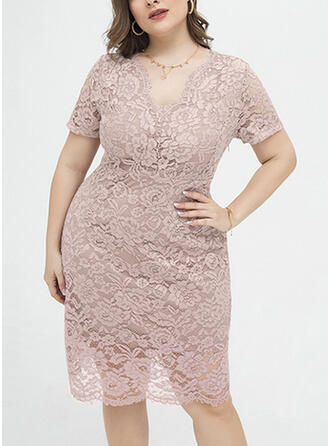 Lace/Solid Short Sleeves Sheath Knee Length Plus Size Dresses