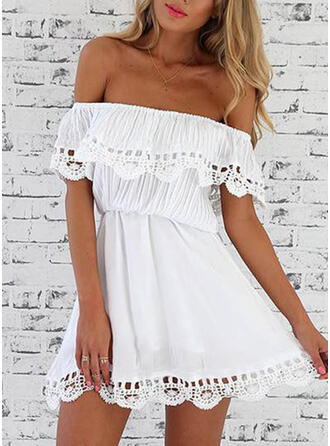 Lace/Solid Short Sleeves A-line Above Knee Casual/Vacation Dresses