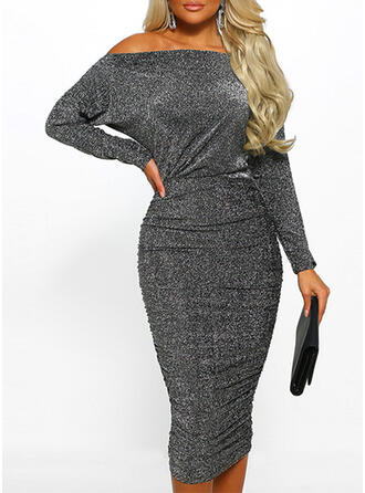 Solid Long Sleeves Bodycon Midi Party Dresses