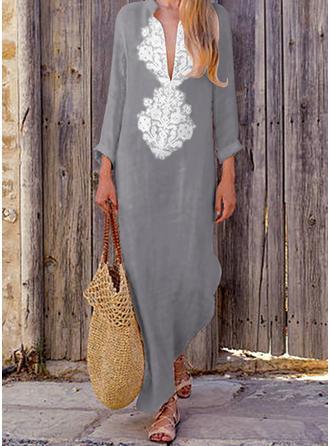 Print Long Sleeves Shift Maxi Casual/Boho/Vacation Dresses