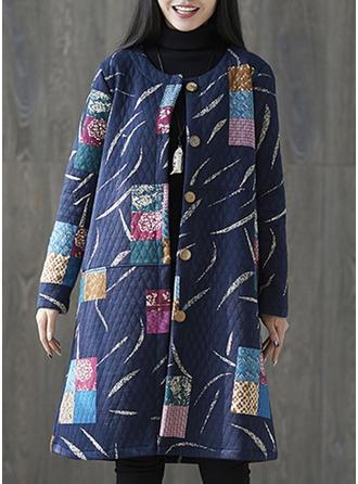 Mieszanki bawełniane Długie rękawy Wydrukować Blok Kolorów Szerokie Płaszcze