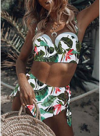 Floral Cintura Alta Impresión Empujar Correa Sexy Bikinis Trajes de baño