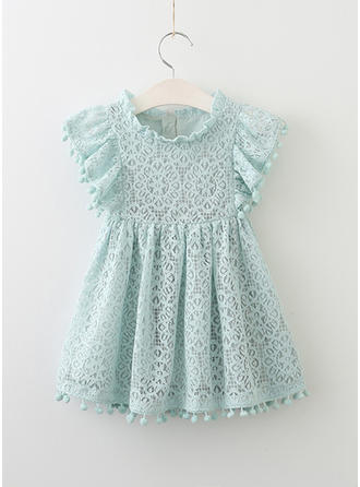 Girls Round Neck Solid Lace Hollow Out Cute Dress