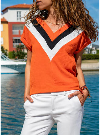 Color Block V-Neck Short Sleeves Casual T-shirts