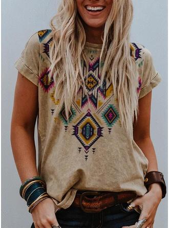 Geometrisk trykk Rund hals Korte ermer Casual T-skjorter