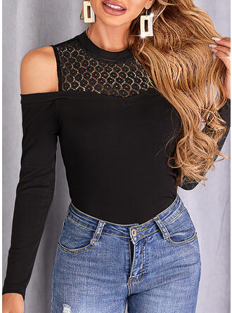 Solid Lace Cold Shoulder Long Sleeves Cold Shoulder Sleeve Casual Blouses
