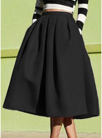Cotton Blends Plain Mid-Calf A-Line Skirts
