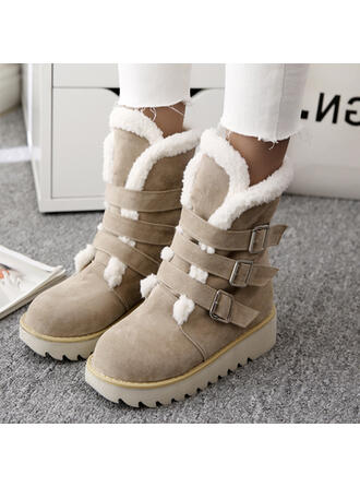 Mulheres Camurça Plataforma Botas de neve Botas de inverno com Fivela Cor sólida sapatos