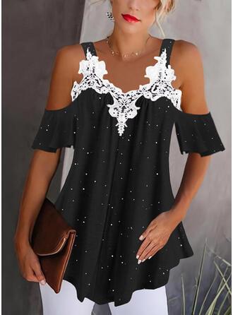 Print Lace Cold Shoulder 1/2 Sleeves Elegant Blouses