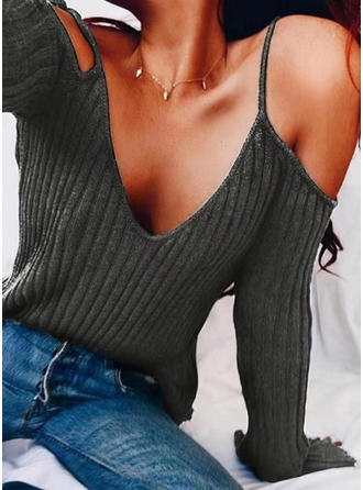 Solid Cold Shoulder Long Sleeves Casual Elegant Sexy Knit Blouses