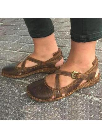 De mujer PU Tacón plano Planos Encaje con Hebilla zapatos