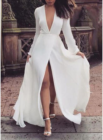 Solid Long Sleeves A-line Maxi Party/Elegant Dresses