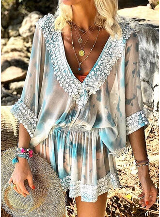 Sequins/Solid 3/4 Sleeves A-line Above Knee Casual/Vacation Dresses