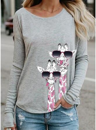 Animal Print Kulatý Výstřih Dlouhé rukávy Mikina
