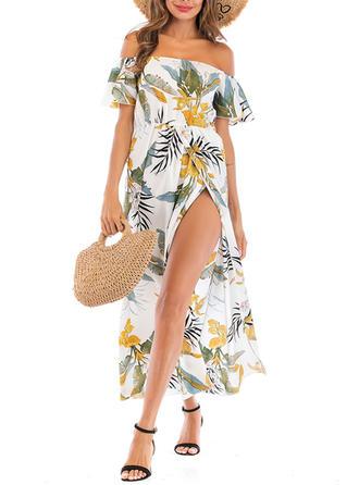 Fleuris Col V Sans Bretelle Sexy À La Mode Classique Attrayant Tenues de plage Maillots De Bain