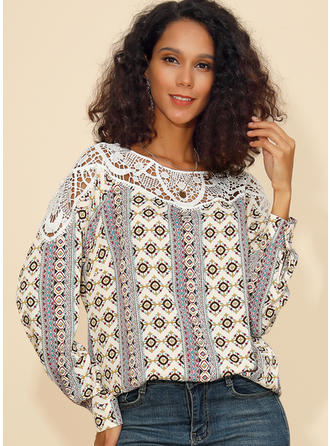 Print Lace Round Neck Long Sleeves Casual Knit Blouses