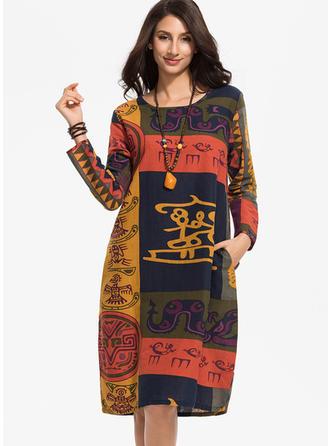 Print/Patchwork Long Sleeves Shift Knee Length Casual/Boho Dresses