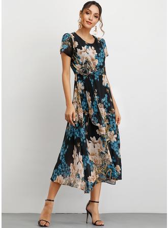 Estampado/Floral Manga Curta Evasê Midi Casual/Elegante Vestidos