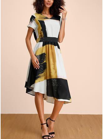 Print/Color Block Short Sleeves A-line Casual/Elegant Midi Dresses