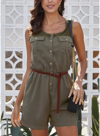 Solid Sleeveless Above Knee Casual Dresses