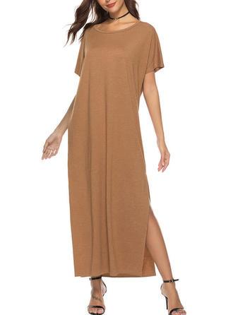 Solid Slit Round Neck Midi Shift Dress