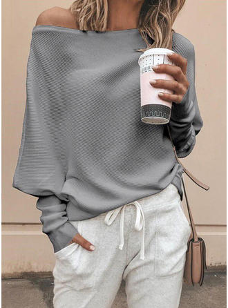 Solid One-Shoulder Long Sleeves Casual Oversized Blouses