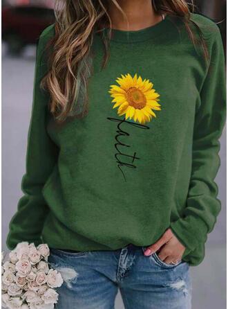 Print Blomster Figur rund hals Lange ærmer Sweatshirts