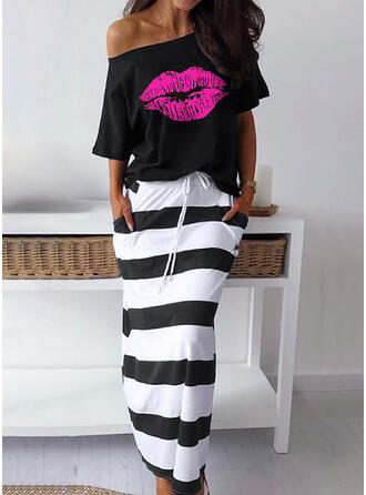 Striped Short Sleeves Sheath Casual Midi Dresses