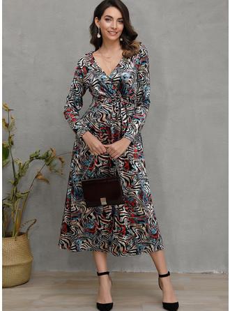 Print Long Sleeves Sheath Midi Casual Dresses