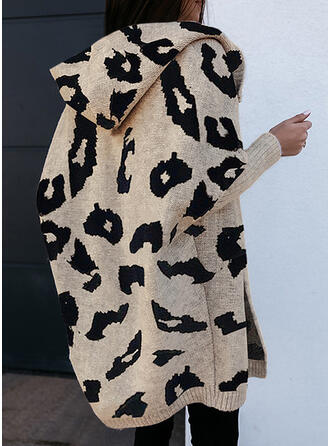 Leopard Hooded Casual Cardigan