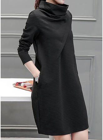 90c64d810c6 quick view Solid Long Sleeves A-line Knee Length Casual Dresses