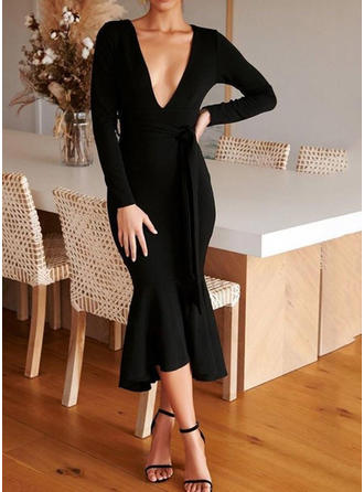 Solid Long Sleeves Sheath Midi Little Black/Casual/Elegant Dresses