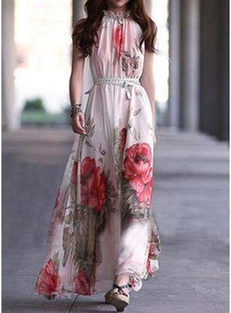 Print Floral Halter Maxi A-line Dress
