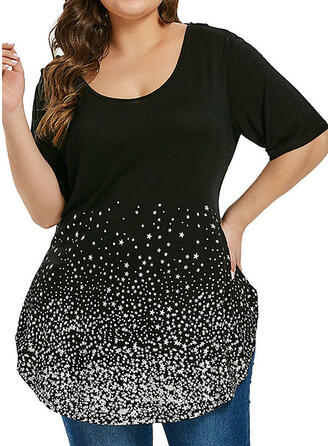 Print Round Neck 1/2 Sleeves Casual Plus Size T-shirts