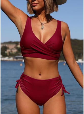 string Falbany W prążki Okrągły dekolt Elegancki Bikini Stroje kąpielowe