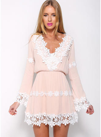 Lace With Lace/Stitching Above Knee Dress