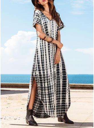 Print Slit V-neck Maxi Shift Dress