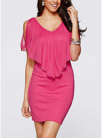 Solid V-neck Above Knee Bodycon Dress