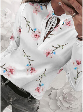 Print Floral Stand collar Long Sleeves Casual Elegant Blouses