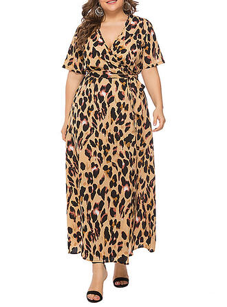 Print/Leopard Short Sleeves A-line Casual/Vacation/Plus Size Maxi Dresses