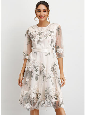 Embroidery/Floral 1/2 Sleeves A-line Knee Length Casual/Elegant Dresses
