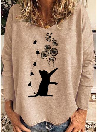 Estampado de animales Cuello Redondo Manga Larga Camisetas