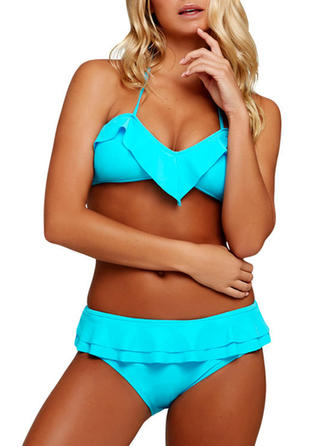 Sexy Couleur unie Polyester Tankinis