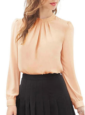 Chiffon Stand-up Collar Plain Long Sleeves Casual Blouses